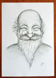 Zeichnung Druck Bild alter Mann