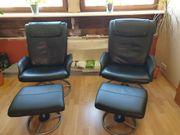 Zwei verstellbare Leder Relax Sessel