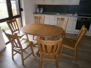 Essgruppe Tisch m 6 Stühlen