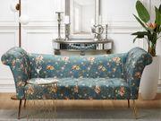 Chaiselongue Polsterbezug seeblau Blumenmuster NANTILLY