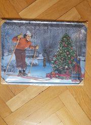 Blechschild 3D Werbeschild Weihnachtsbier Ski