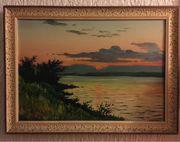 Ölgemälde Landschaft im Sonnenuntergang