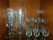 Set aus geschliffenen Kristall Gläsern -
