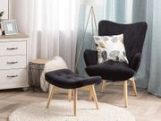 Sessel Samtstoff schwarz plus Hocker