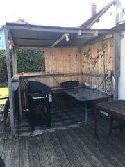 Gartenhütte halboffen gegen Abbau und