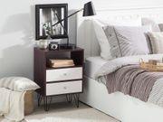 Nachttisch dunkler Holzfarbton weiß 2