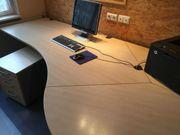 Schreibtisch mit Rollcontainer Ahorn