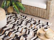 Teppich Kuhfell braun weiß 140