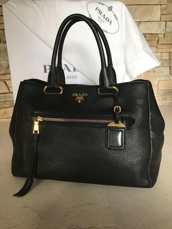 7dd7cd141efd1 PRADA Damentasche schwarz Leder original