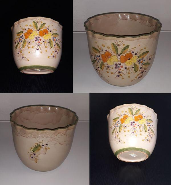 Unikat Ton Vase beige mit