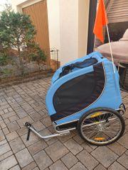 Pawhut Hundeanhänger Fahrradanhänger blau und