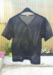 Shirt Netz Lochmuster schwarz Größe