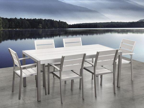 Gartenmöbel Set Kunstholz weiß 6-Sitzer
