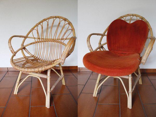 2 Korbsessel in Retrodesign 60er
