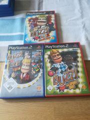 3x PS2-Spiele Buzz auch Controller