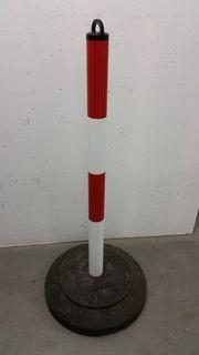 Absperrpfosten 4 Stück rot-weiß