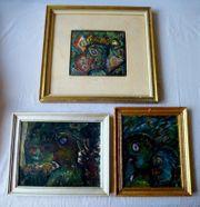 3 Gemälde Ölgemälde Gesichter