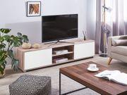 TV-Möbel weiss heller Holzfarbton LINCOLN neu