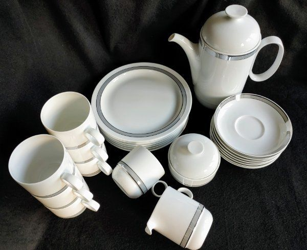 Rosenthal Duo Poetic Kaffeeservice 7 Pers. Platinrand studio-linie Ambrogio Pozzi 80/90er J.