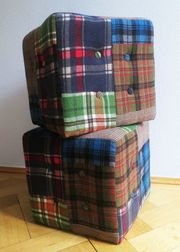 Zwei Sitzwürfel Patchwork Karo von