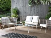 Gartenmöbel Set Rattan cremeweiß RAGUSA