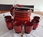 Keramik Bowle Rot Rumtopf mit