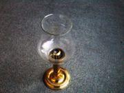 Messing Kerzenständer und Glasschale mit