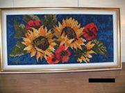 Edles Stick-Bild Blumen-Motive Holz-Rahmen mit