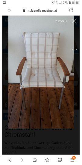 Hochwertige Gartenstühle Teakholz Chromstahl: Kleinanzeigen aus Muntlix - Rubrik Gartenmöbel