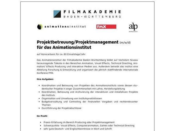 Projektbetreuung Projektmanagement m w d