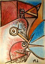 Marie Javorkova - Birds Original signiert