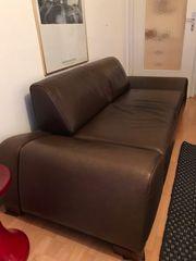 Ledersofa 2-Sitzer dunkelbraun