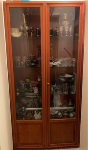 Antike Glasvitrine Eichelbaum Echtholz