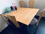 Esszimmertisch mit Stühlen Eiche massiv