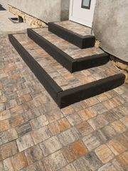 Minibagger Pflaster Terrasse Treppen Gartengestaltung