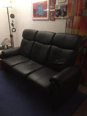 gebrauchtes 3-Sitzer Echtledersofa schwarz