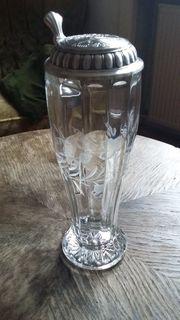 Weizenbierglas mit Zinndeckel Herzlichen Glückwunsch