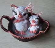 Amigurumi Schnee- Eule mit Baby