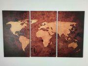 3-tlg Leinwandbilder-Set Weltkarte