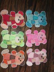 Patchwork Bären Aufnäher oder Bügelbild