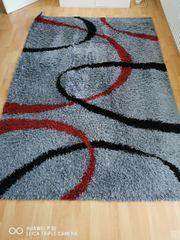 Hochflor-Teppich Shaggy my Home grau-schwarz-rot