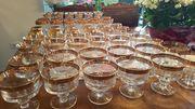 Gläser-Sortiment graviert mit Goldrand