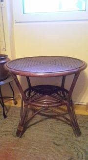 Rattantisch Tisch Holz Rattan Tisch