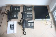 Telefonanlage mit fünf Telefonen Alcatel