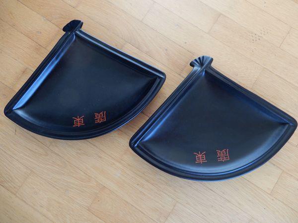 2 fächerförmige Teller asiatisch chinesisch