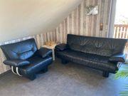 Sofa Sessel Echtleder schwarz
