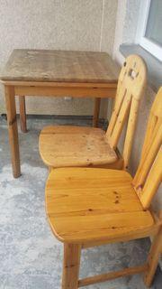 Solider Vollholztisch ausziehbar 2 Stühle