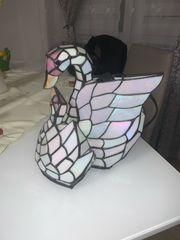 Schwanen Tischlampe Tiffany Stil Mosaik