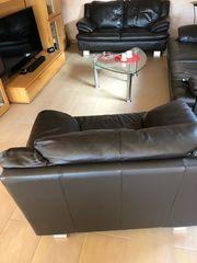 Ledercouch 2-Sitzer und Sessel