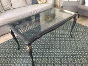 Alter Chippendale Tisch mit Glasplatte